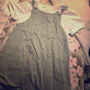 olive green overall dress from forever 21
